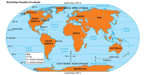 South Pole World Map.Latitude